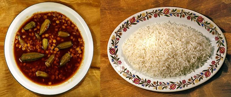 Khoresh bamia con riso persiano