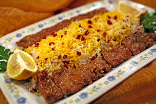 Zereshk polo ba kabab Barg ba kabab kubidè