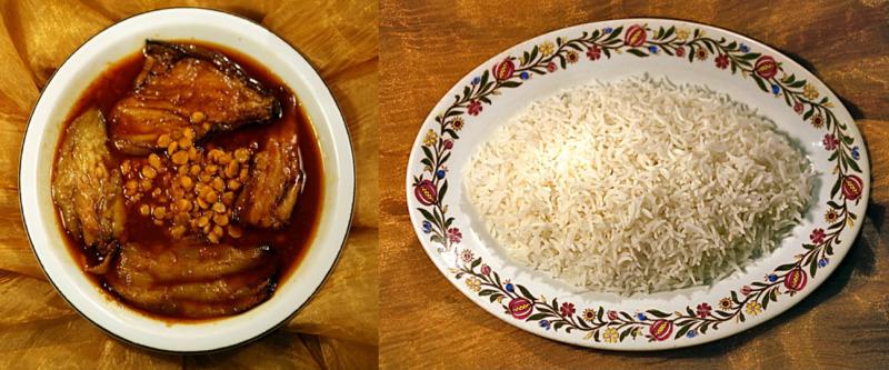 Khoresh Bademjan con riso persiano
