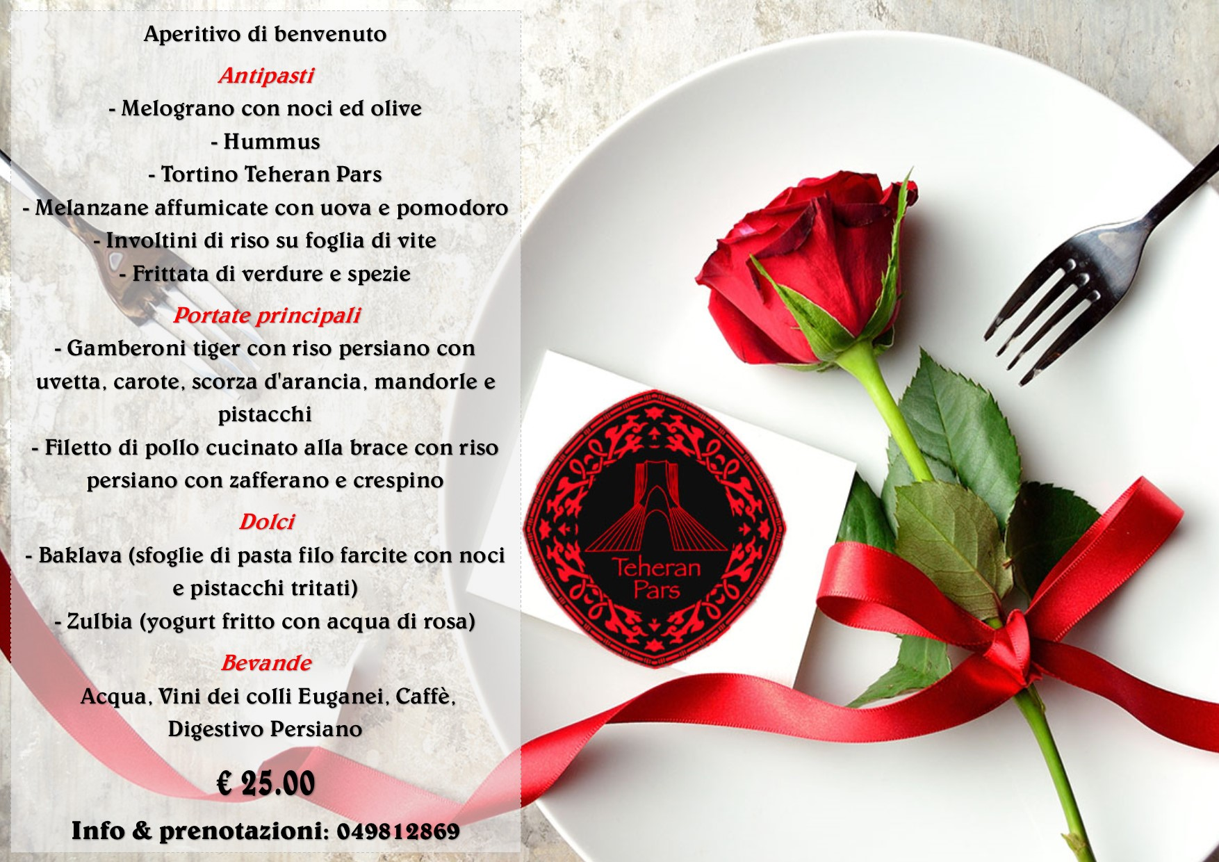 Teheran Pars menu di San Valentino 2018